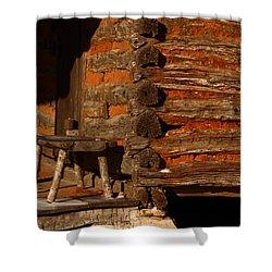 Log Cabin Shower Curtain by Robert Frederick