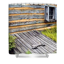 Log Cabin Storm Cellar Door Shower Curtain by Paul W Faust -  Impressions of Light