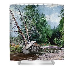 Log Jam Shower Curtain by Donald Maier