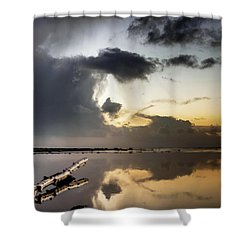 Log Pointing To Sunset Shower Curtain