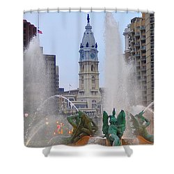 Logan Circle Fountain With City Hall In Backround 4 Shower Curtain by Bill Cannon