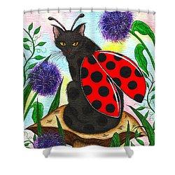 Logan Ladybug Fairy Cat Shower Curtain by Carrie Hawks