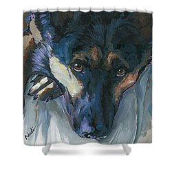 Shower Curtain featuring the painting Logan by Nadi Spencer