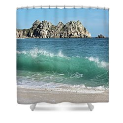 Shower Curtain featuring the photograph Logan Rock Porthcurno Cornwall by Terri Waters
