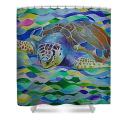 Loggerhead Turtle Shower Curtain by Tracey Harrington-Simpson