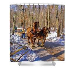 Logging Horses 1 Shower Curtain by Trey Foerster