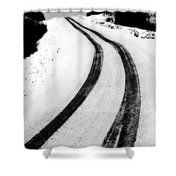 Logging Road In Winter Shower Curtain by Mark Duffy