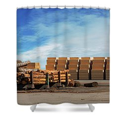 Logs And Plywood At Lumber Mill Shower Curtain