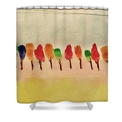 Lollipop Trees Shower Curtain by Kim Nelson