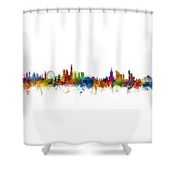 London And Warsaw Skylines Mashup Shower Curtain