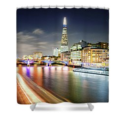 London At Night With Urban Architecture, Amazing Skyscraper And Boat At Thames River, United Kingdom Shower Curtain