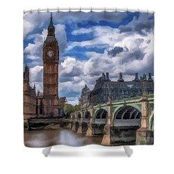 London Big Ben Shower Curtain by David Dehner