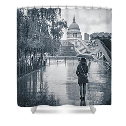 London Black And White Shower Curtain