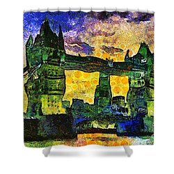 Shower Curtain featuring the digital art London Bridge by Ian Mitchell