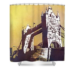 Shower Curtain featuring the painting London Bridge- Uk by Ryan Fox