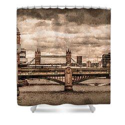 London, England - London Bridges Shower Curtain