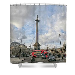London Bus And Lord Nelson Shower Curtain