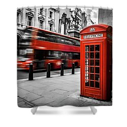 London Bus And Telephone Box In Red Shower Curtain