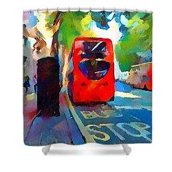 London Bus Stop Shower Curtain