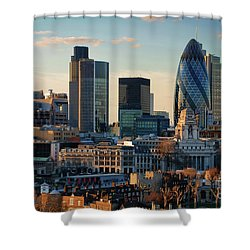 Shower Curtain featuring the photograph London City Of Contrasts by Lois Bryan