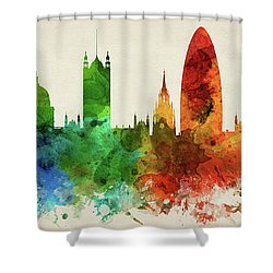 London England Skyline Panorama Gblo-pa02 Shower Curtain by Aged Pixel