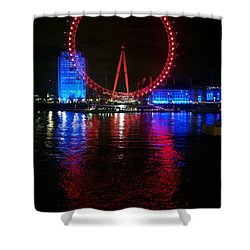 Shower Curtain featuring the photograph London Eye At Night by Hanza Turgul
