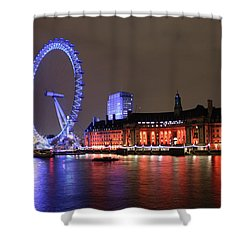Shower Curtain featuring the photograph London Eye By Night by RKAB Works