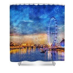 Shower Curtain featuring the photograph London Eye by Ian Mitchell