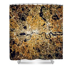 Shower Curtain featuring the photograph London From Space by Delphimages Photo Creations