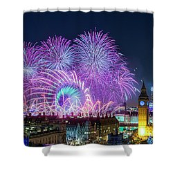 London New Year Fireworks Display Shower Curtain