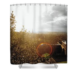 London Partialy Cloudy With A Chance Of Flare Shower Curtain by Patrick Murphy