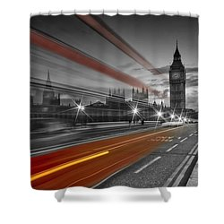 London Red Bus Shower Curtain by Melanie Viola