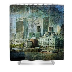 London Skyline Key Of Blue Shower Curtain