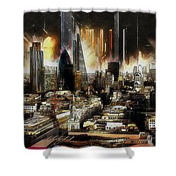 Shower Curtain featuring the painting London Skyline by Kai Saarto