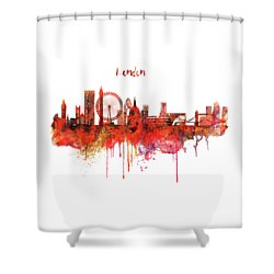 London Skyline Watercolor Shower Curtain by Marian Voicu