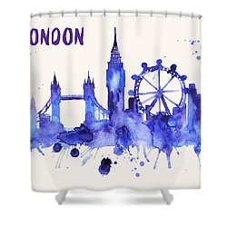 London Skyline Watercolor Poster - Cityscape Painting Artwork Shower Curtain