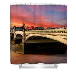 London Sunset Shower Curtain by Adrian Evans