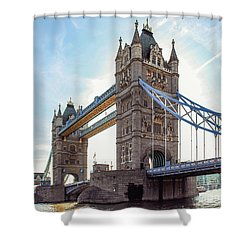 Shower Curtain featuring the photograph London - The Majestic Tower Bridge by Hannes Cmarits