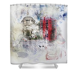 London's Ephemera Shower Curtain