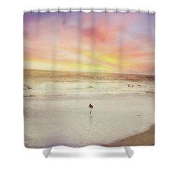 Lone Bird At Sunset Shower Curtain