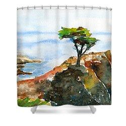 Lone Cypress Pebble Beach Fog Shower Curtain