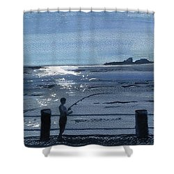 Lone Fisherman On Worthing Pier Shower Curtain by Carole Robins