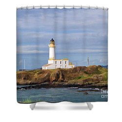 Shower Curtain featuring the photograph Lone Lighthouse In Scotland by Roberta Byram