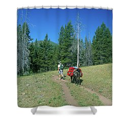 Lone Llama Packer In The Beautiful Bob Marshall Wilderness Shower Curtain by Jerry Voss