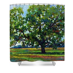 Shower Curtain featuring the painting Lone Oak by Hailey E Herrera