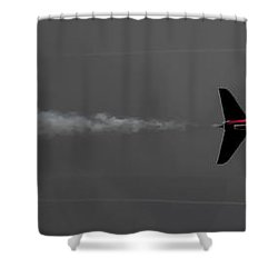Lone Red Arrow Smoke Trail - Teesside Airshow 2016 Shower Curtain by Scott Lyons