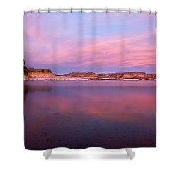 Lone Rock Sunset Shower Curtain by Mike  Dawson