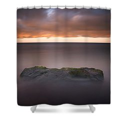 Shower Curtain featuring the photograph Lone Stone At Sunrise by Adam Romanowicz