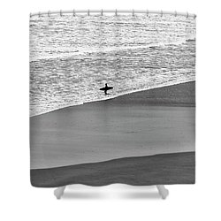 Shower Curtain featuring the photograph Lone Surfer by Nicholas Burningham