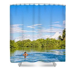 Shower Curtain featuring the photograph Lone Swimmer by Kim Wilson